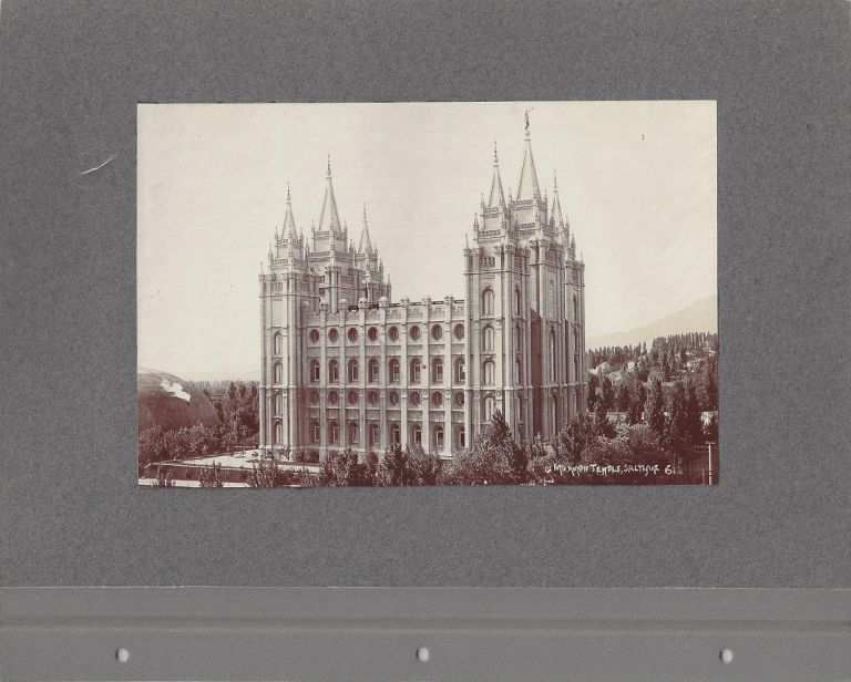 Mormon Temple, Salt Lake [BACKED WITH] Lion House / Beehive House. Charles Roscoe Savage.