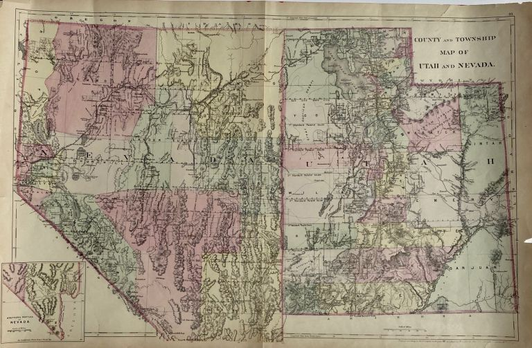 County and Township Map of Utah and Nevada. S. Augustus Mitchell.