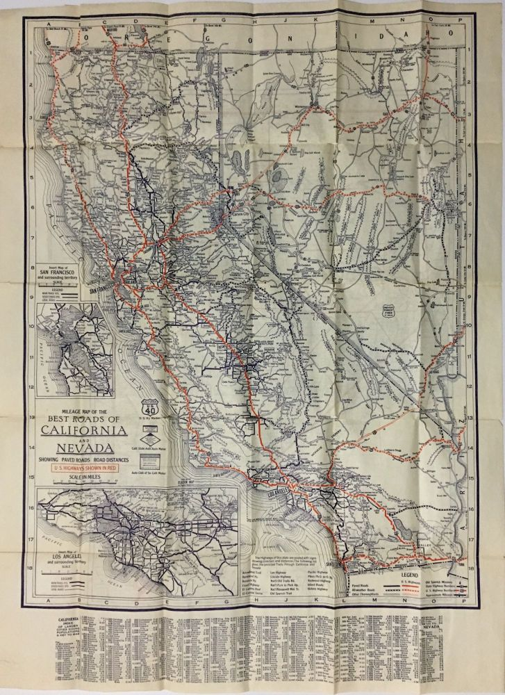 Mileage Map of the Best Roads of California and Nevada. George S. Clason.