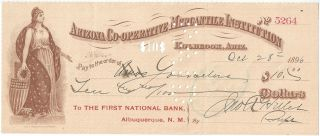 Arizona Cooperative Mercantile Institution canceled check. ACMI