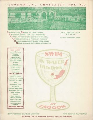 Lagoon Amusement Park Broadside. Julian M. Bamberger.