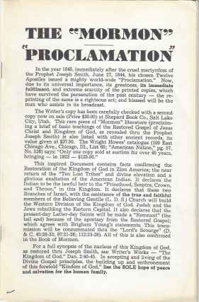 The 'Mormon Proclamation'. Francis Michael Darter