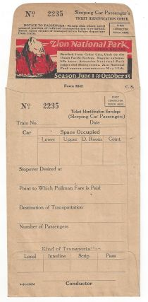 Sleeping Car Passenger's Ticket Identification Check and Envelope. Utah Parks Company