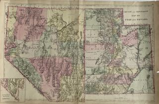 County and Township Map of Utah and Nevada. S. Augustus Mitchell