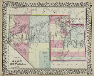 County Map of Utah and Nevada. W. H. Gamble
